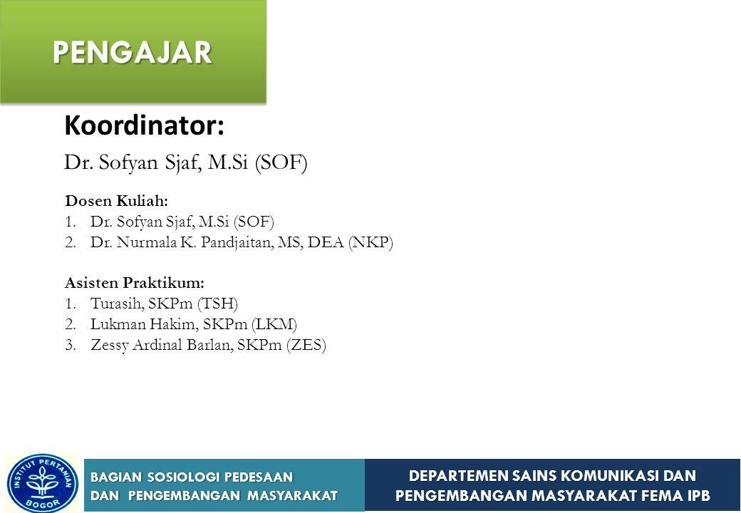 PENGAJAR Koordinator: Dr. Sofyan Sjaf, M.Si (SOF) Dosen Kuliah:
