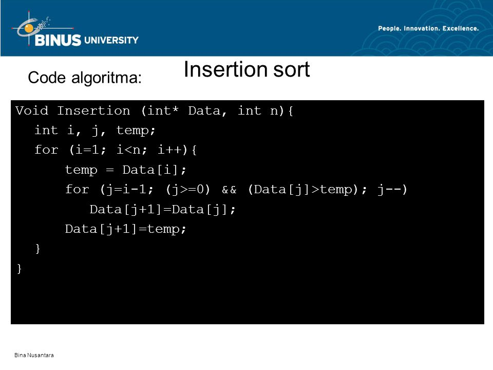 Insertion sort Code algoritma: Void Insertion (int* Data, int n){