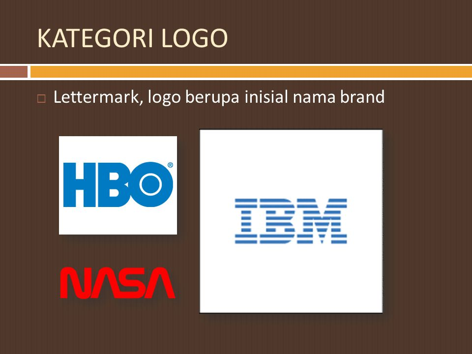 KATEGORI LOGO Lettermark, logo berupa inisial nama brand