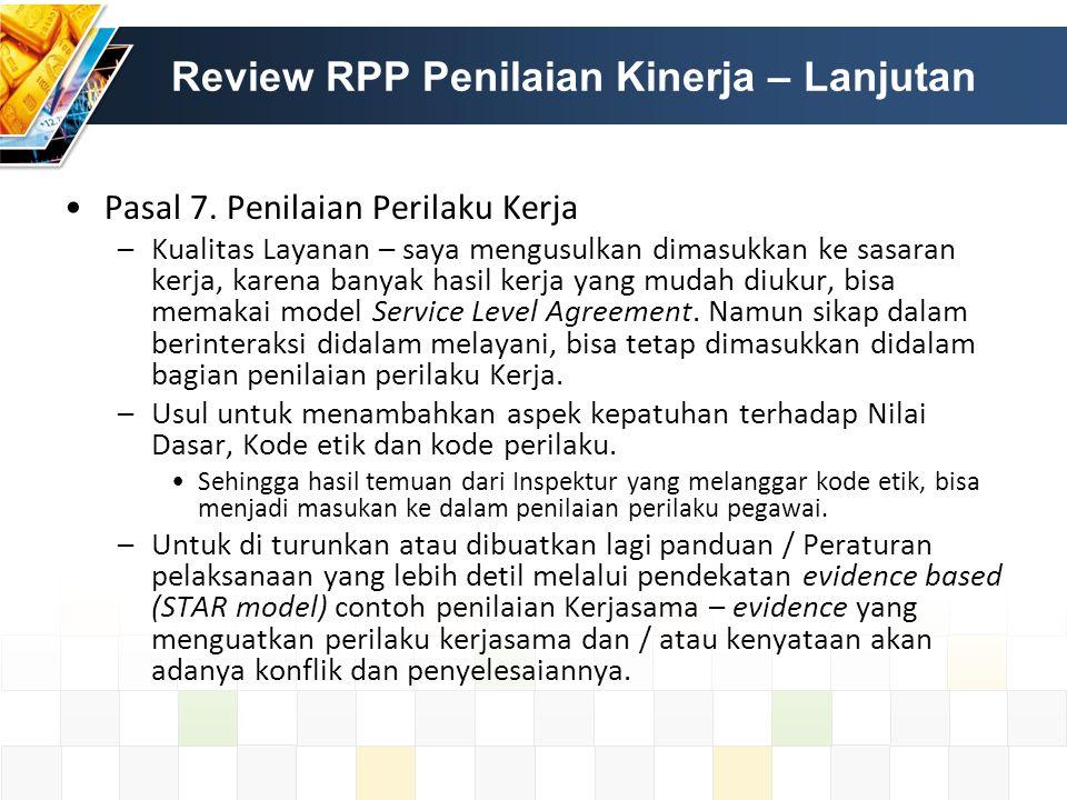 Review RPP Penilaian Kinerja – Lanjutan