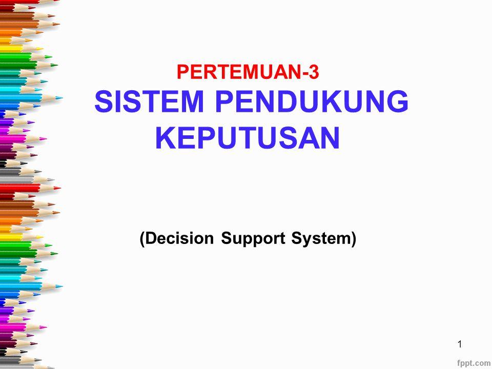 PERTEMUAN-3 SISTEM PENDUKUNG KEPUTUSAN (Decision Support System)