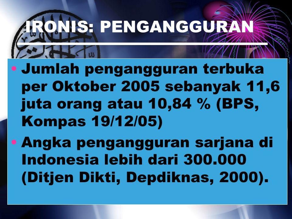 IRONIS: PENGANGGURAN Jumlah pengangguran terbuka per Oktober 2005 sebanyak 11,6 juta orang atau 10,84 % (BPS, Kompas 19/12/05)
