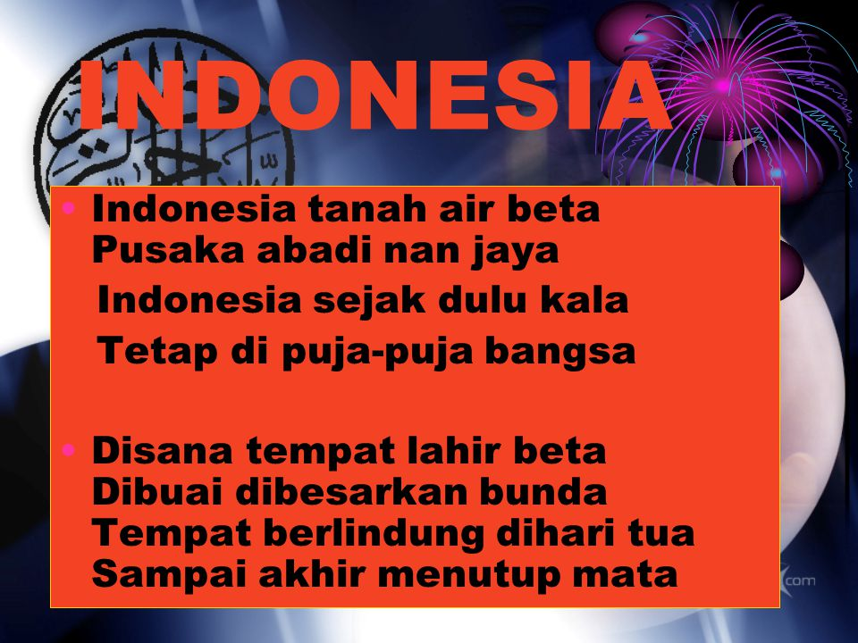 INDONESIA Indonesia tanah air beta Pusaka abadi nan jaya