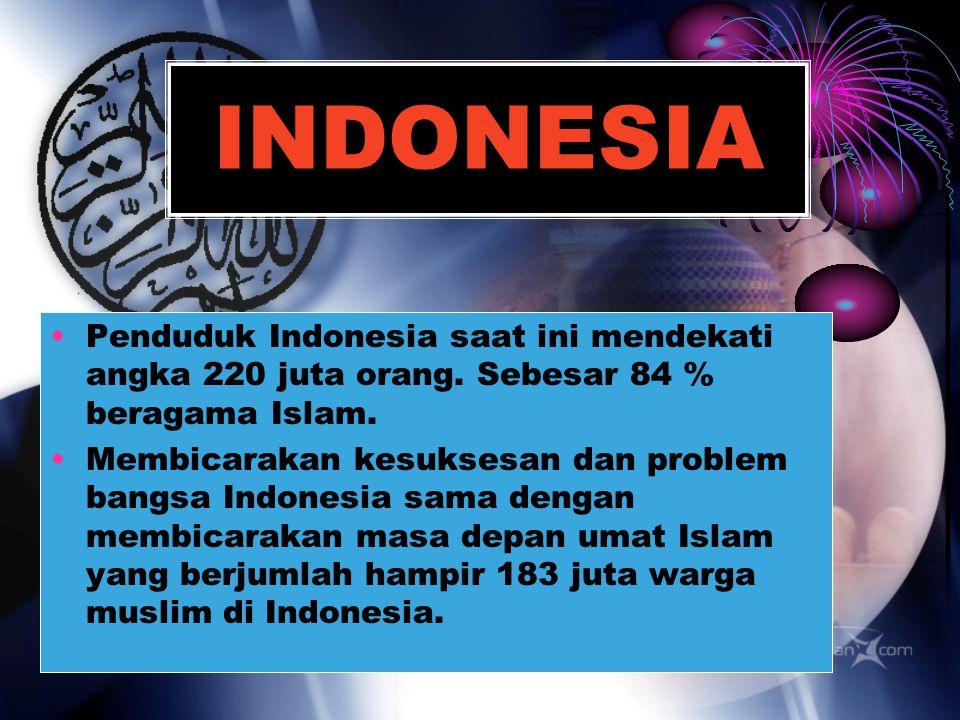 INDONESIA Penduduk Indonesia saat ini mendekati angka 220 juta orang. Sebesar 84 % beragama Islam.