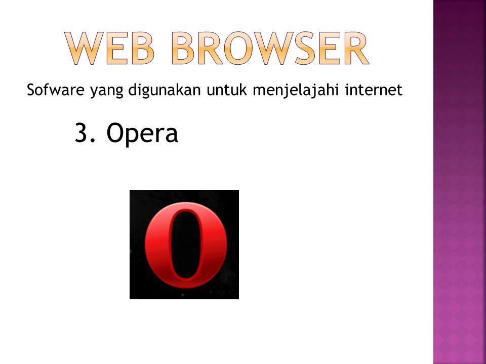 WEB BROWSER Sofware yang digunakan untuk menjelajahi internet 3. Opera
