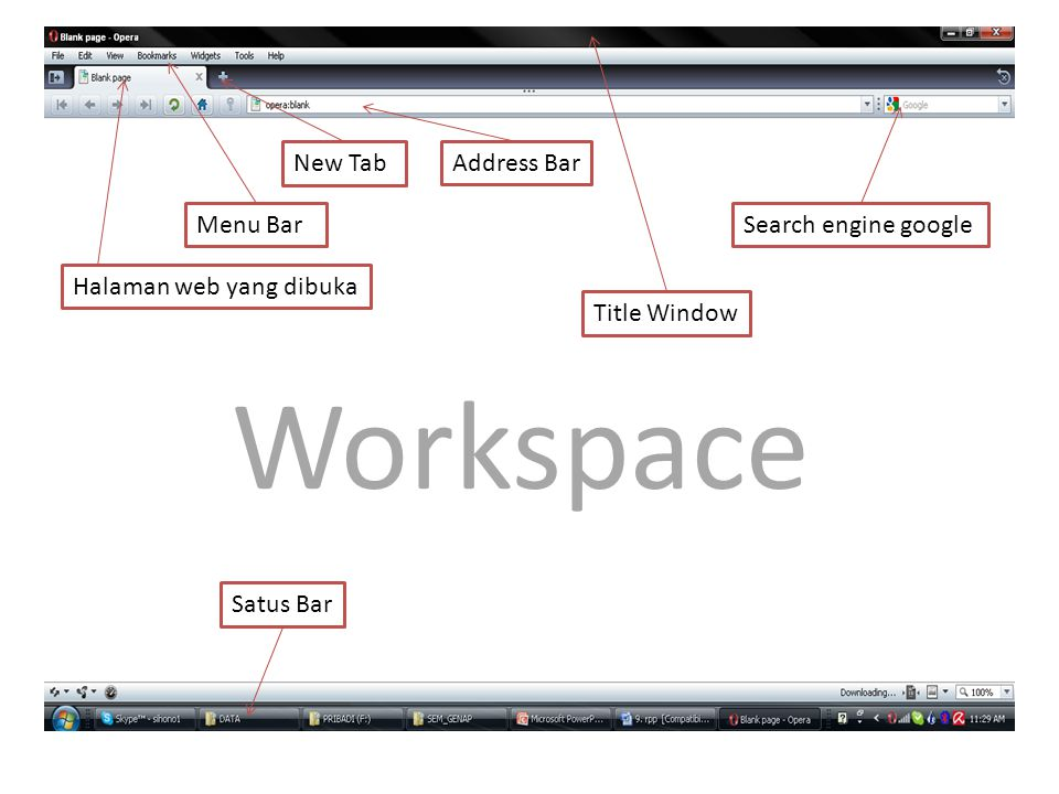 Workspace New Tab Address Bar Menu Bar Search engine google