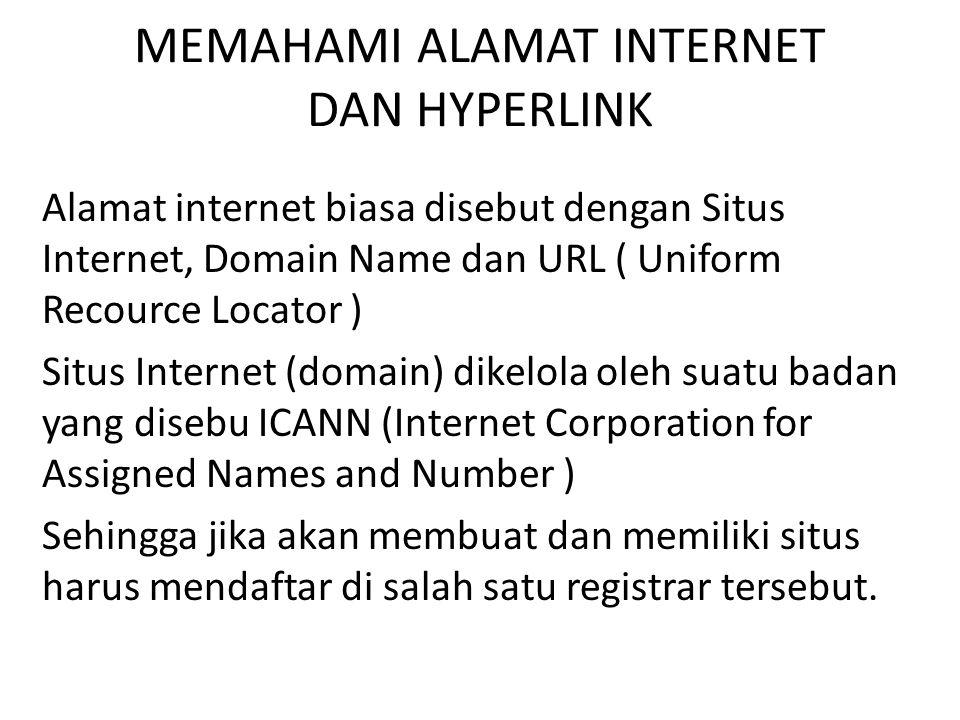 MEMAHAMI ALAMAT INTERNET DAN HYPERLINK