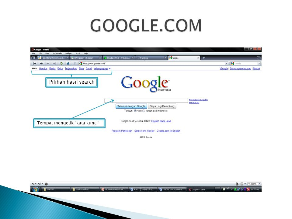 GOOGLE.COM Pilihan hasil search Tempat mengetik kata kunci