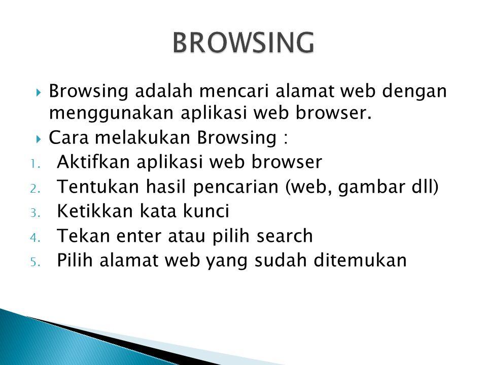 BROWSING Browsing adalah mencari alamat web dengan menggunakan aplikasi web browser. Cara melakukan Browsing :