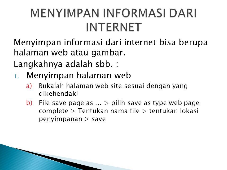 MENYIMPAN INFORMASI DARI INTERNET