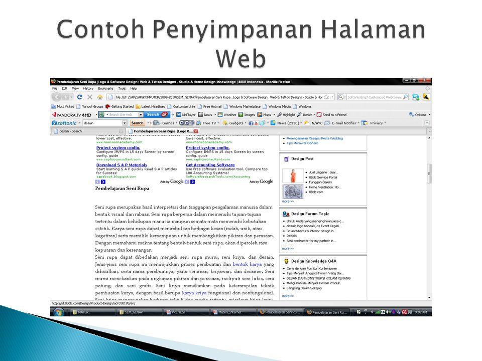 Contoh Penyimpanan Halaman Web