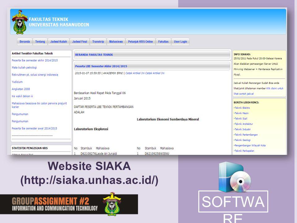 Website SIAKA (http://siaka.unhas.ac.id/) SOFTWARE