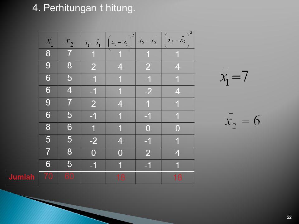 4. Perhitungan t hitung. 8 7 1 9 2 4 6 5 -1 -2 70 60 18 Jumlah