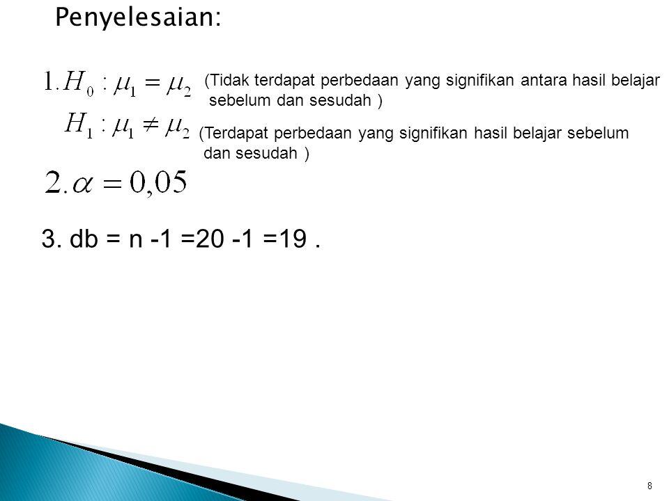 Penyelesaian: 3. db = n -1 =20 -1 =19 .
