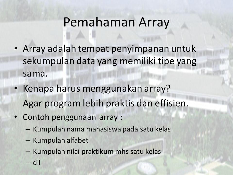 Pemahaman Array Array adalah tempat penyimpanan untuk sekumpulan data yang memiliki tipe yang sama.