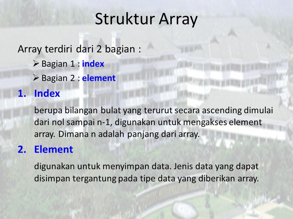 Struktur Array Array terdiri dari 2 bagian : Index