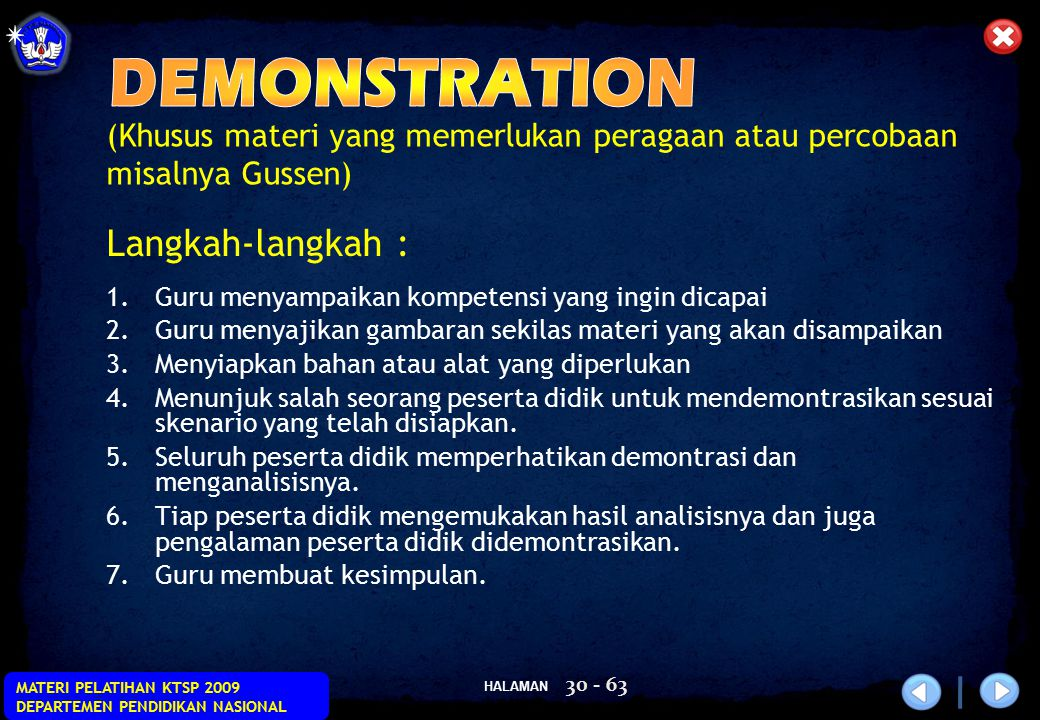 DEMONSTRATION Langkah-langkah :