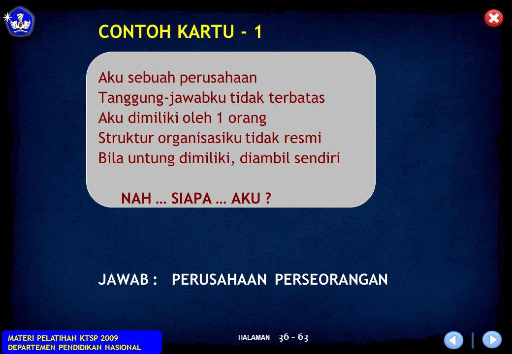 CONTOH KARTU - 1 Aku sebuah perusahaan Tanggung-jawabku tidak terbatas