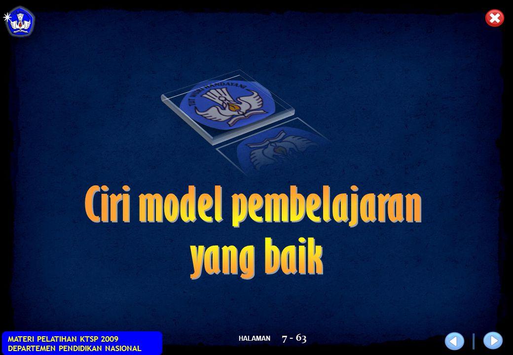 Ciri model pembelajaran