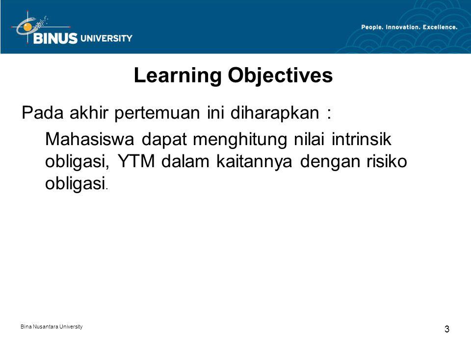 Learning Objectives Pada akhir pertemuan ini diharapkan :