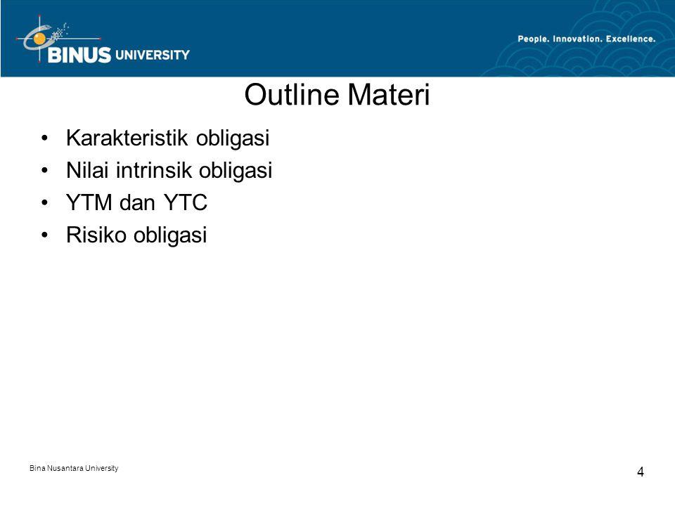 Outline Materi Karakteristik obligasi Nilai intrinsik obligasi