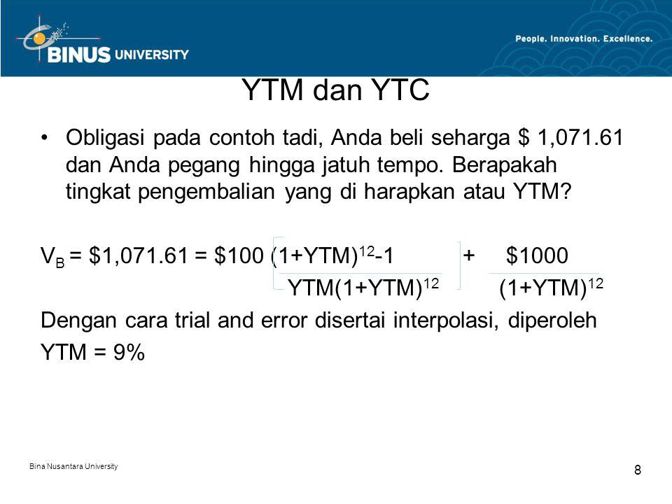 YTM dan YTC