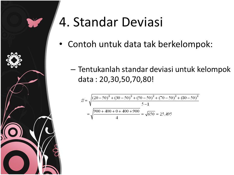 4. Standar Deviasi Contoh untuk data tak berkelompok: