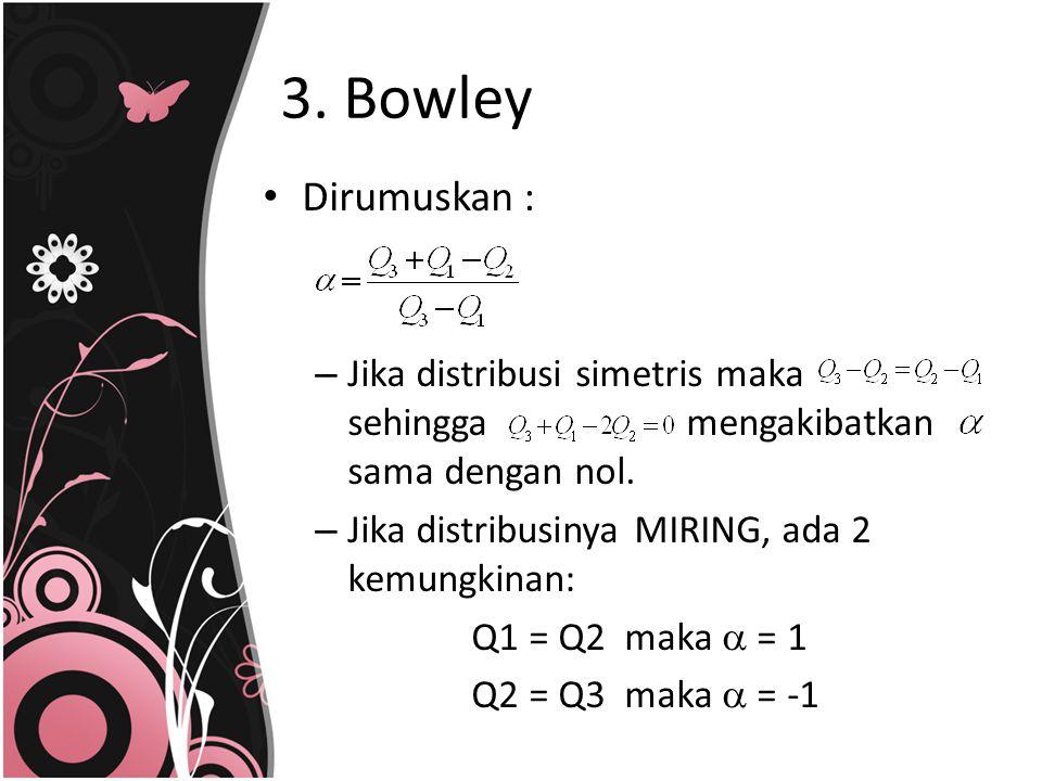 3. Bowley Dirumuskan : Jika distribusi simetris maka sehingga mengakibatkan sama dengan nol.