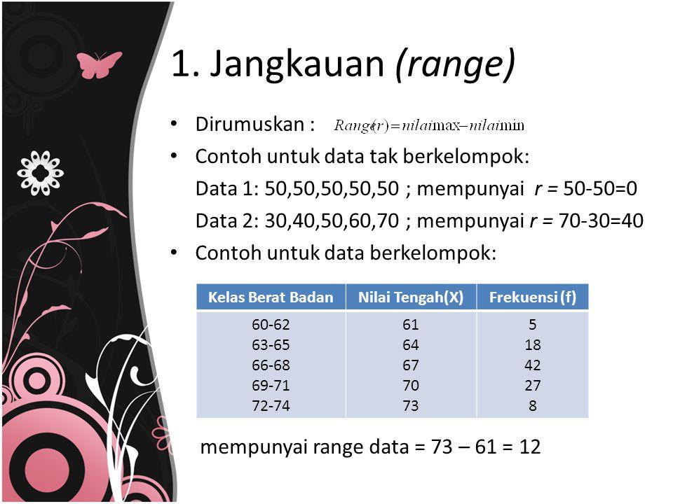 1. Jangkauan (range) Dirumuskan : Contoh untuk data tak berkelompok: