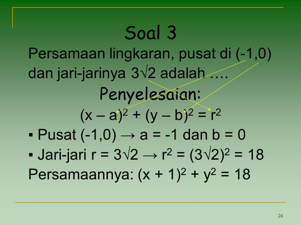 Soal 3 Penyelesaian: Persamaan lingkaran, pusat di (-1,0)