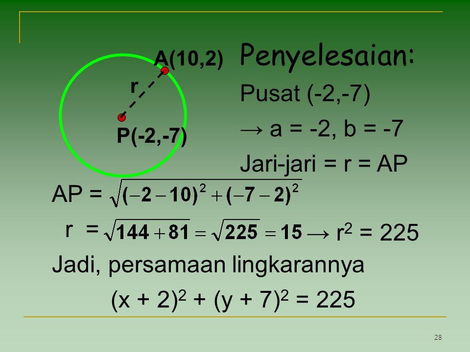 Penyelesaian: Pusat (-2,-7) → a = -2, b = -7 Jari-jari = r = AP AP =