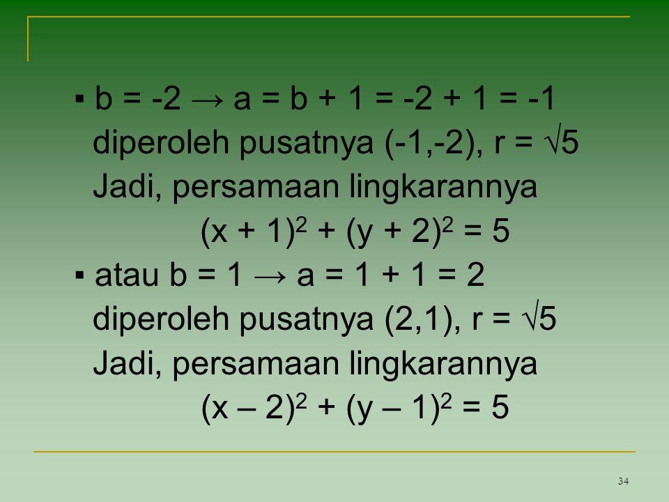 ▪ b = -2 → a = b + 1 = -2 + 1 = -1 diperoleh pusatnya (-1,-2), r = √5. Jadi, persamaan lingkarannya.