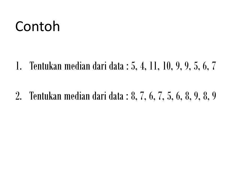 Contoh Tentukan median dari data : 5, 4, 11, 10, 9, 9, 5, 6, 7