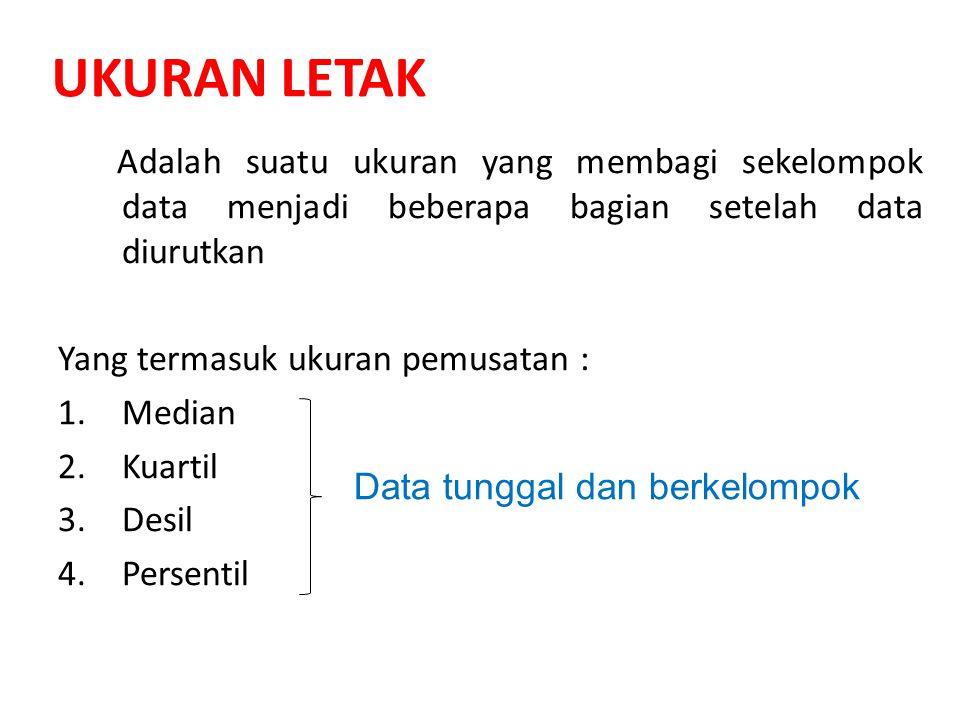UKURAN LETAK Adalah suatu ukuran yang membagi sekelompok data menjadi beberapa bagian setelah data diurutkan.