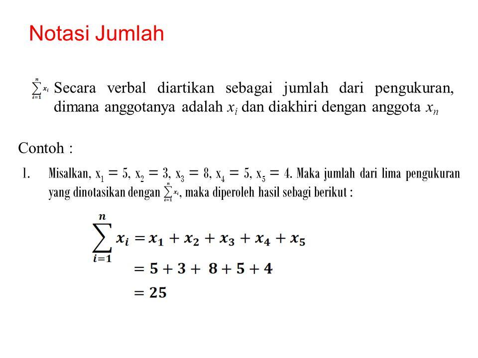 Notasi Jumlah Secara verbal diartikan sebagai jumlah dari pengukuran, dimana anggotanya adalah xi dan diakhiri dengan anggota xn.