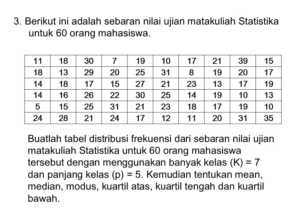 3. Berikut ini adalah sebaran nilai ujian matakuliah Statistika untuk 60 orang mahasiswa.