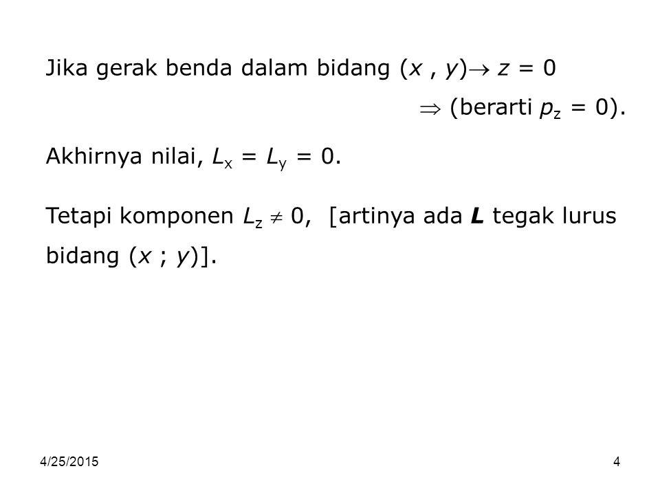Jika gerak benda dalam bidang (x , y) z = 0  (berarti pz = 0).