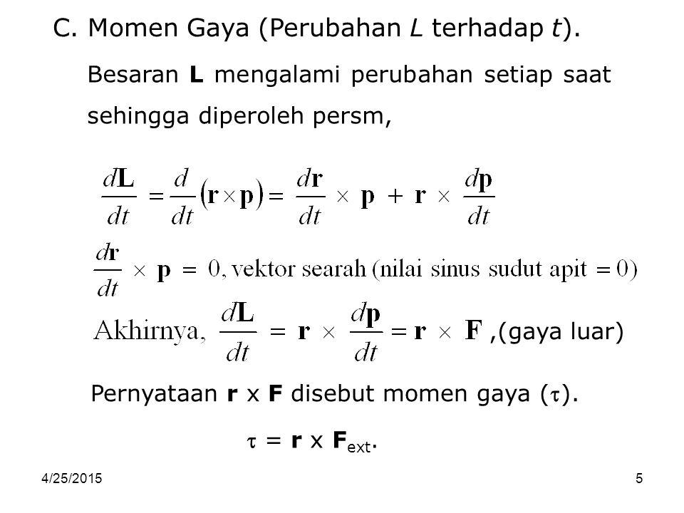 C. Momen Gaya (Perubahan L terhadap t).