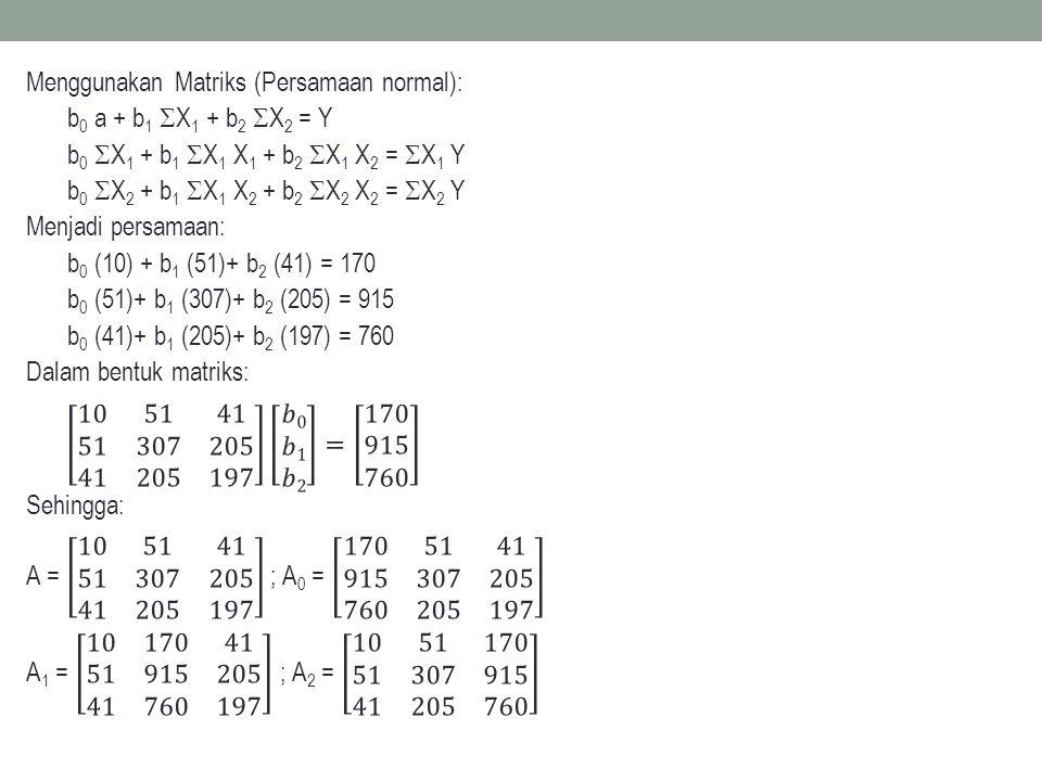 Menggunakan Matriks (Persamaan normal): b0 a + b1 X1 + b2 X2 = Y b0 X1 + b1 X1 X1 + b2 X1 X2 = X1 Y b0 X2 + b1 X1 X2 + b2 X2 X2 = X2 Y Menjadi persamaan: b0 (10) + b1 (51)+ b2 (41) = 170 b0 (51)+ b1 (307)+ b2 (205) = 915 b0 (41)+ b1 (205)+ b2 (197) = 760 Dalam bentuk matriks: 10 51 41 51 307 205 41 205 197 𝑏0 𝑏1 𝑏2 = 170 915 760 Sehingga: A = 10 51 41 51 307 205 41 205 197 ; A0 = 170 51 41 915 307 205 760 205 197 A1 = 10 170 41 51 915 205 41 760 197 ; A2 = 10 51 170 51 307 915 41 205 760