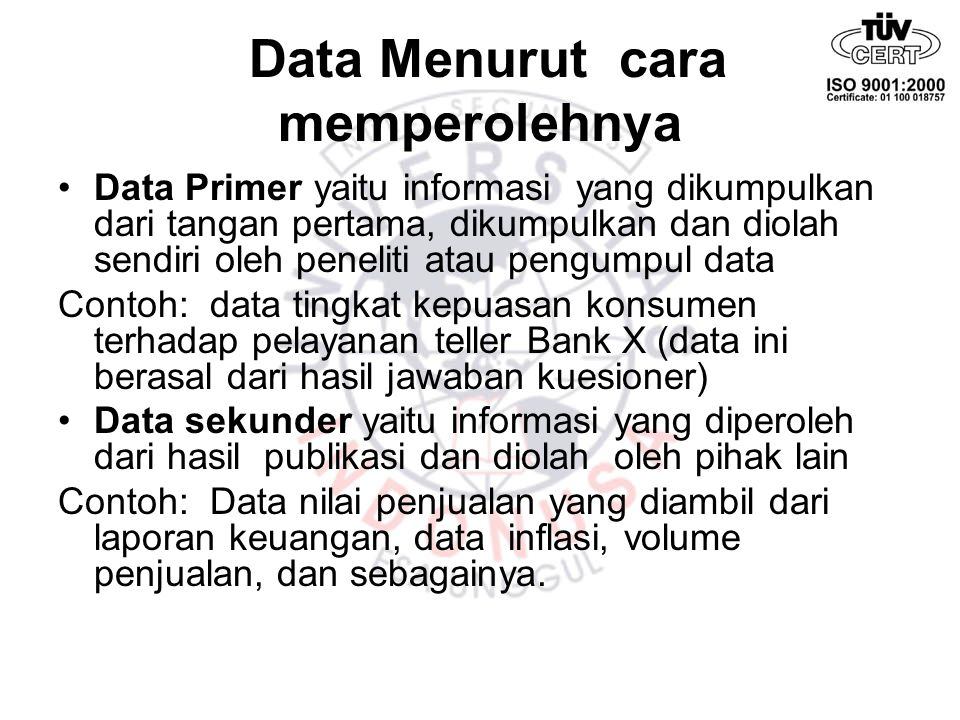 Data Menurut cara memperolehnya
