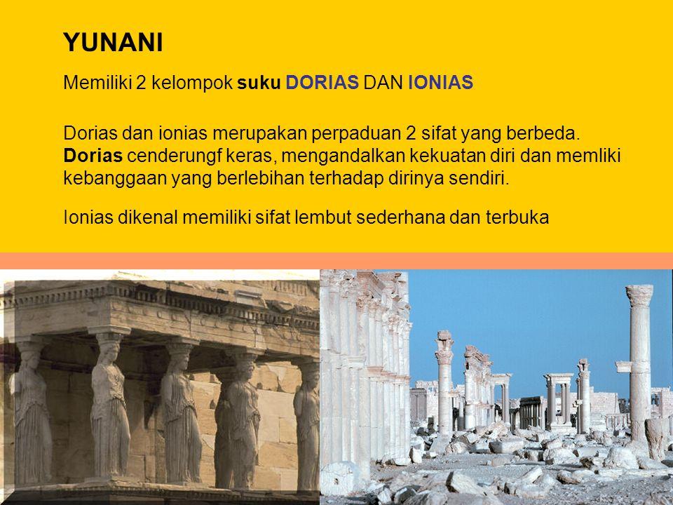 YUNANI Memiliki 2 kelompok suku DORIAS DAN IONIAS