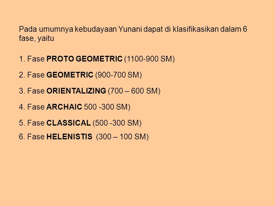 Pada umumnya kebudayaan Yunani dapat di klasifikasikan dalam 6 fase, yaitu
