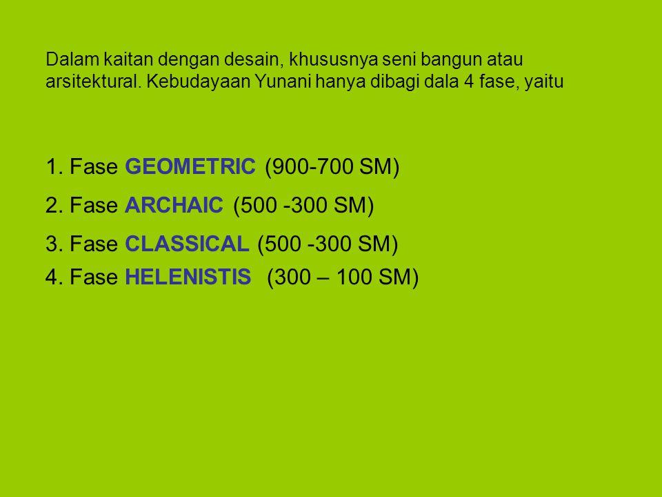 1. Fase GEOMETRIC (900-700 SM) 2. Fase ARCHAIC (500 -300 SM)