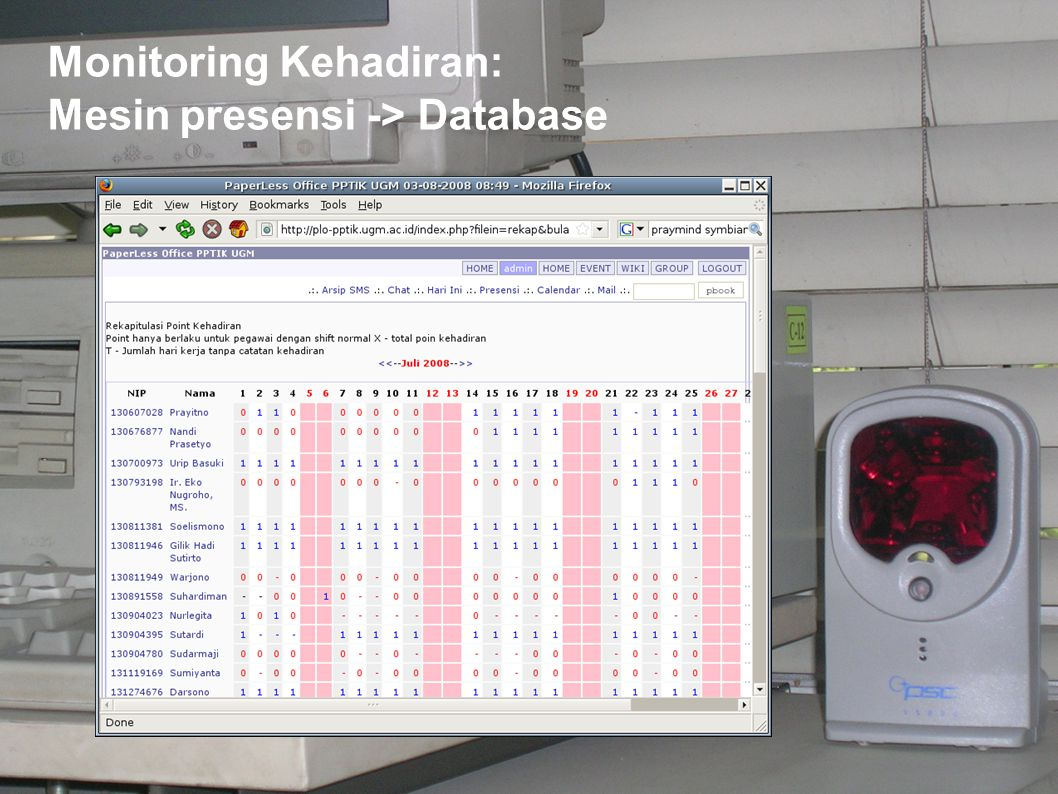 Monitoring Kehadiran: Mesin presensi -> Database