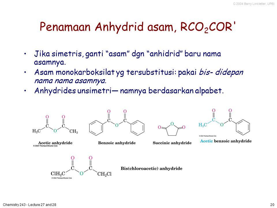 Penamaan Anhydrid asam, RCO2COR