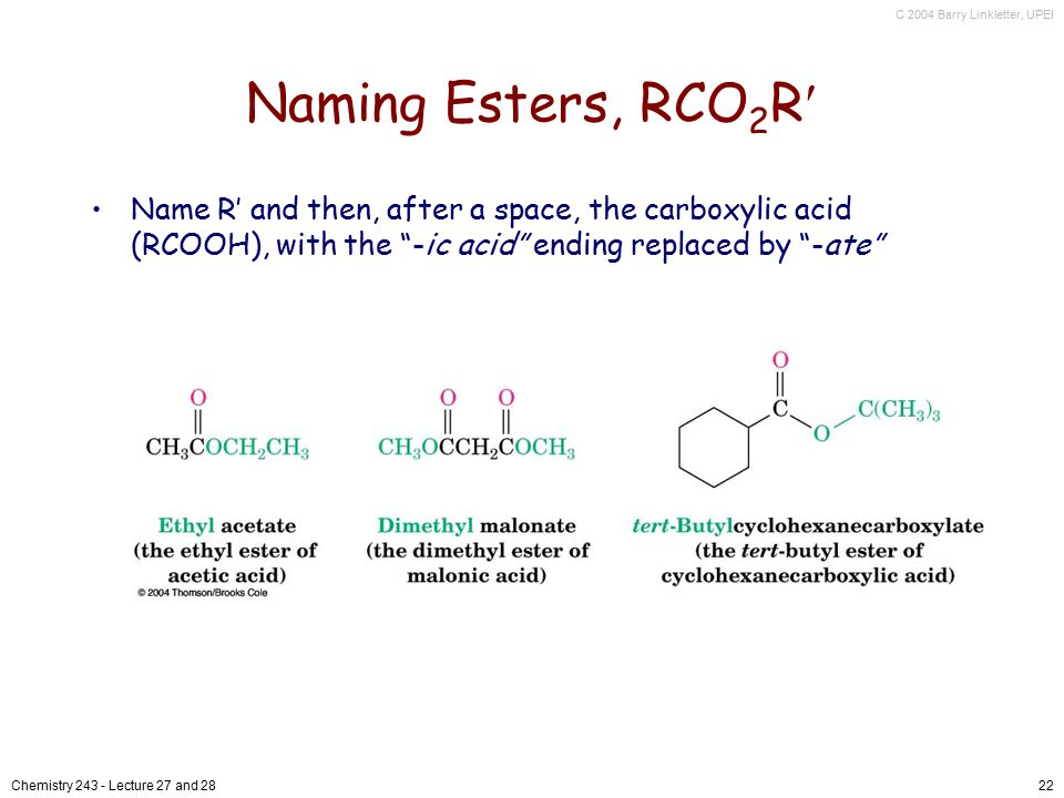 Naming Esters, RCO2R Name R' and then, after a space, the carboxylic acid (RCOOH), with the -ic acid ending replaced by -ate
