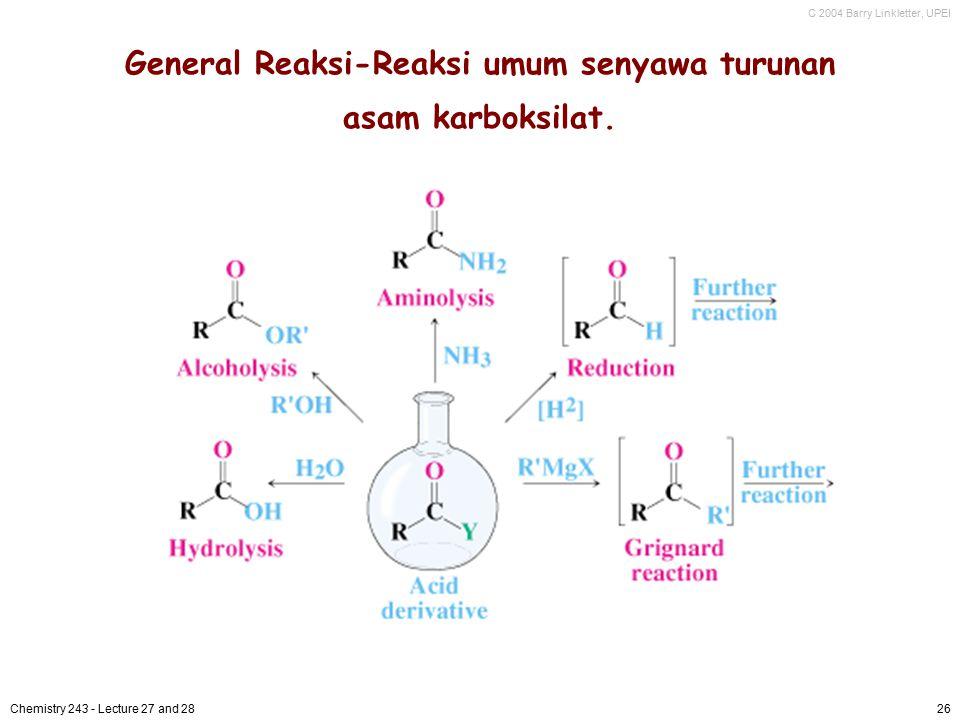 General Reaksi-Reaksi umum senyawa turunan asam karboksilat.