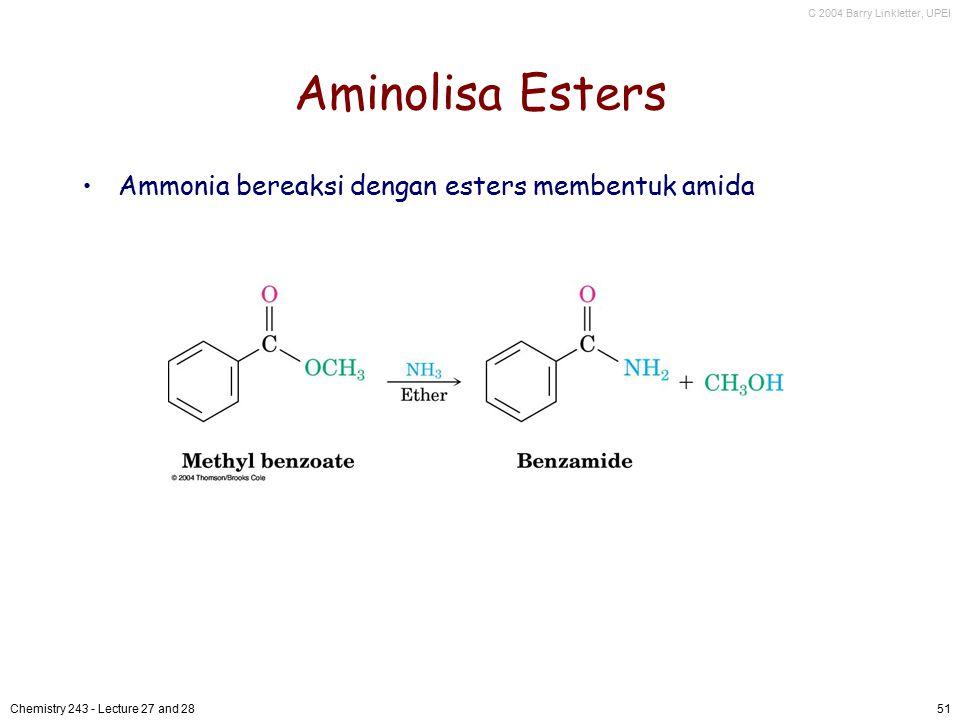 Aminolisa Esters Ammonia bereaksi dengan esters membentuk amida