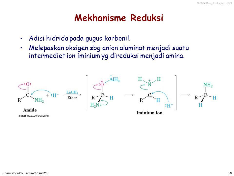 Mekhanisme Reduksi Adisi hidrida pada gugus karbonil.