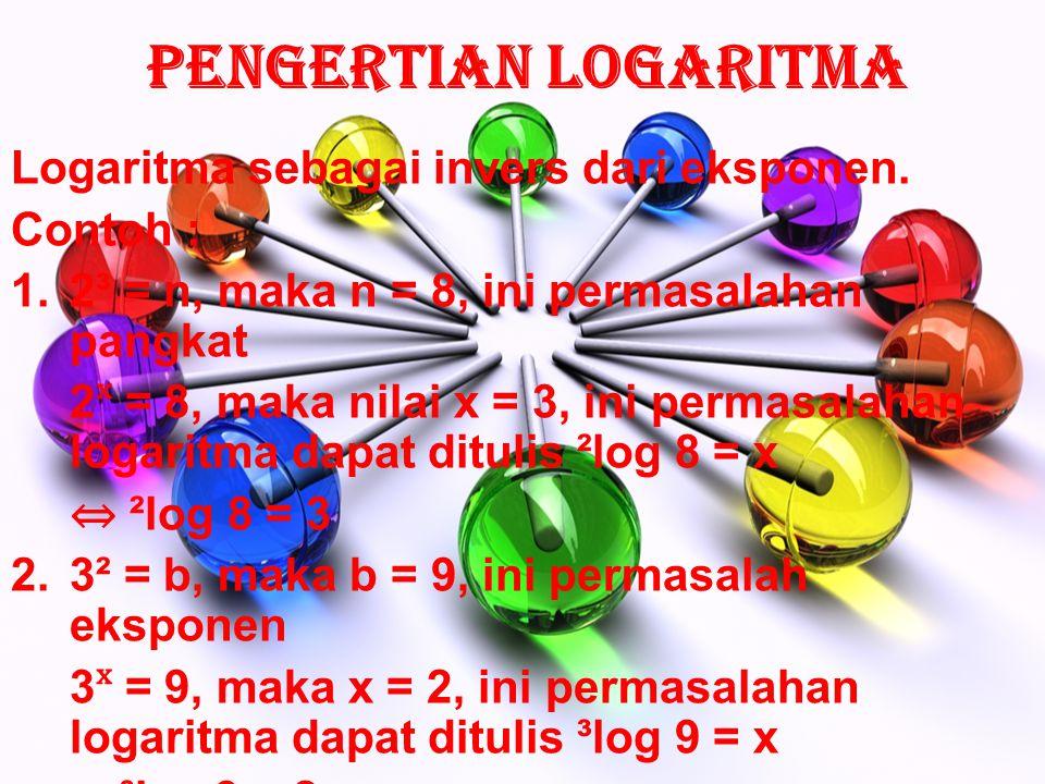 Pengertian Logaritma Logaritma sebagai invers dari eksponen. Contoh :